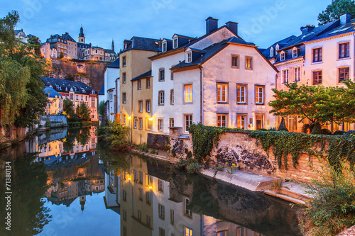 A view of a Luxembourg buildings in the dusk
