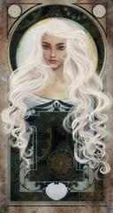 White haired beauty over art novo background