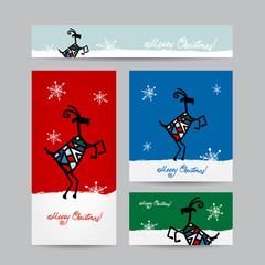 Funny goat santa. Christmas cards design.