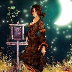 Brunette girl on halloween night