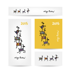 Funny goats. Christmas cards design.