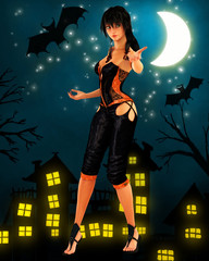 Black haired witch dancing under the moon