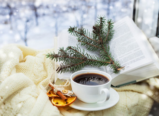 Romantic christmas still ife with cup of coffee