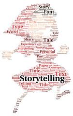 Storytelling word cloud shape