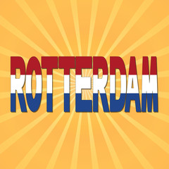 Rotterdam flag text with sunburst illustration