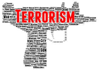 Terrorism word cloud shape