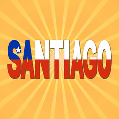 Santiago flag text with sunburst illustration