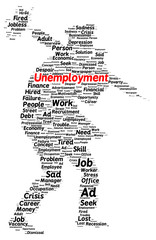 Unemployment word cloud shape