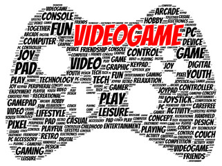 Video game word cloud shape