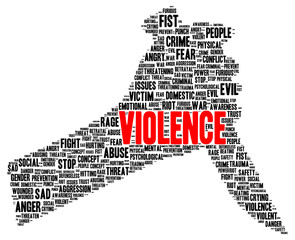 Violence word cloud shape