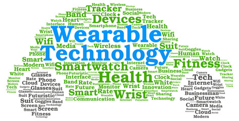 Wearable technology word cloud in the shape of a car