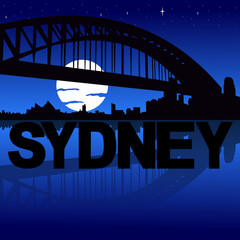 Sydney skyline reflected with text and moon illustration
