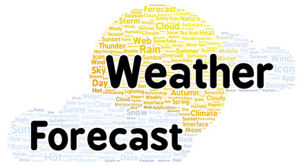 Weather forecast word cloud shape