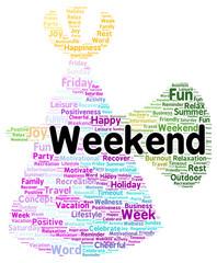 Weekend word cloud shape