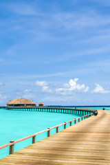 view of water bungalow in irufushi island,  maldives