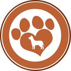 Love Paw Print Brown Circle Banner Design With Dog Silhouette