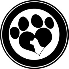Love Paw Print Black Circle Banner Design With Dog Head