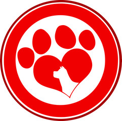 Love Paw Print Red Circle Banner Design With Dog Head Silhouette