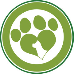 Love Paw Print Green Circle Banner Design With Dog Head