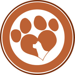 Love Paw Print Brown Circle Banner Design With Dog Head