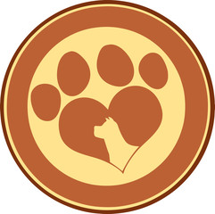 Love Paw Print Brown Circle Banner With Dog Head Silhouette