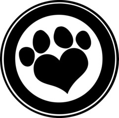 Love Paw Print Black Circle Banner Design