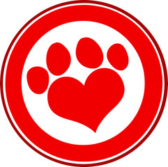 Love Paw Print Red Circle Banner Design