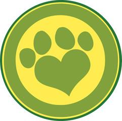 Love Paw Print Green Circle Banner