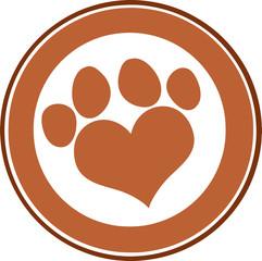 Love Paw Print Brown Circle Banner Design