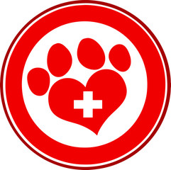 Veterinary Love Paw Print Red Circle Banner Design With Cross