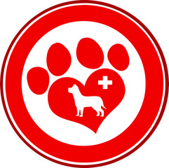 Veterinary Love Paw Print Red Circle Banner Design With Dog