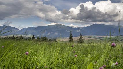 View of High Tatras from a hill near Liptovsky Mikulas