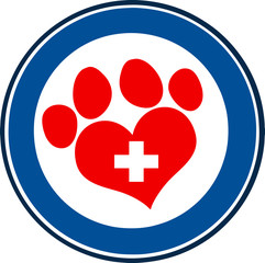 Veterinary Love Paw Print Blue Circle Banner Design With Cross