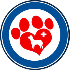 Veterinary Love Paw Print Blue Circle Banner Design