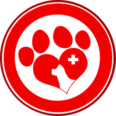 Veterinary Love Paw Print Red Circle Banner