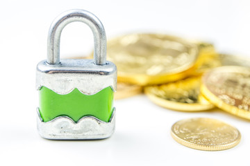 Gold coins with lock