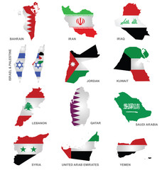 Flags of Gulf Sates overlaid on outline maps