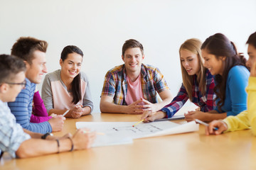 group of smiling students with blueprint