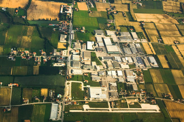 Aerial view of an industrial park near Venice, Italy.
