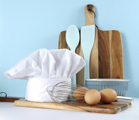Modern kitchen cooking kitchenware and chef's hat