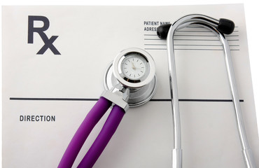 Closeup of a medical stethoscope.