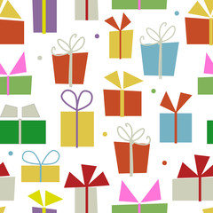 Seamless pattern design with gift boxes