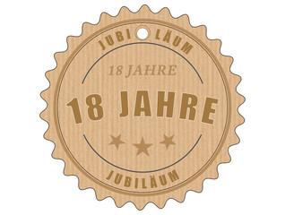 je18 JubiläumsEtikett 18 - vintagedesign - 18 Jahre - g1918