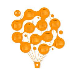 Calendar grid 2015,  Air balloon for your design
