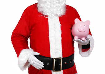 Santa Claus holding a piggy bank