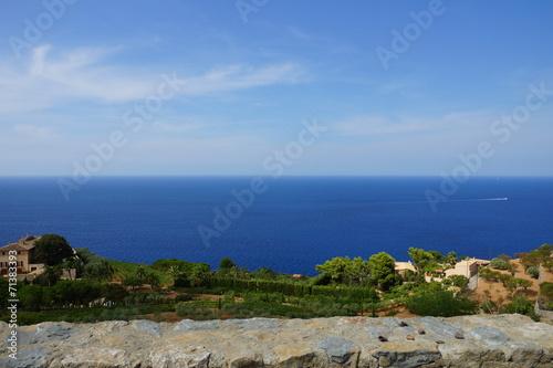 canvas print picture Mallorca von seiner Bergigen seite mit blick auf das Meer