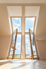 Double balcony window in the attic