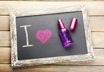 I love perfume written on chalkboard, close-up