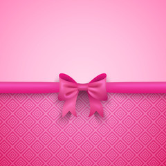 Romantic vector pink background with cute bow and pattern