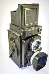 Vintage medium format analogic camera. Color image
